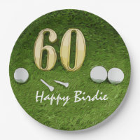 60th Golf birthday party with golf ball and tee Paper Plate