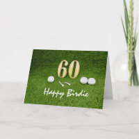60th Golf birthday with golf ball and tee on green Card