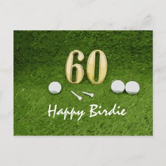 60th Golf birthday with golf ball and tee on green Postcard