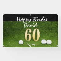 60th golfer's birthday with golf ball happy birdie banner