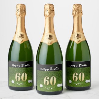 60th golfer's birthday with golf ball happy birdie champagne label