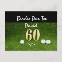 60th golfer's birthday with golf ball happy birdie invitation postcard