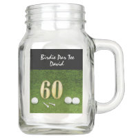 60th golfer's birthday with golf ball happy birdie mason jar
