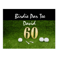 60th golfer's birthday with golf ball happy birdie postcard