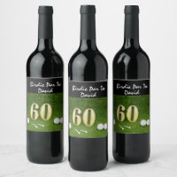 60th golfer's birthday with golf ball happy birdie wine label