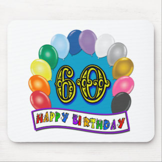 60th Happy Birthday Balloons Merchandise Mouse Pad