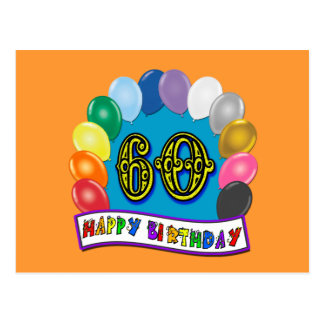 60th Happy Birthday Balloons Merchandise Postcard