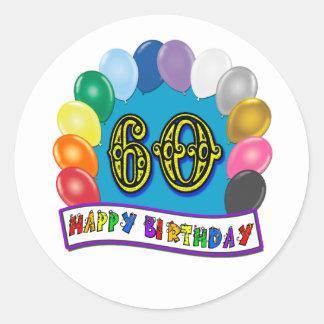 60th Happy Birthday Balloons Merchandise Stickers