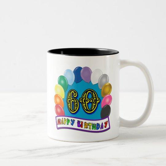 60th Happy Birthday Balloons Merchandise Two-Tone Coffee Mug
