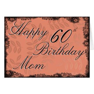 60th Happy Birthday Card - Peach Floral
