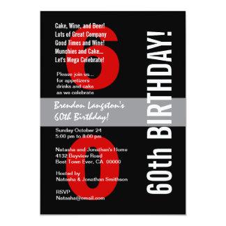 60th Modern Birthday Black White Red Template A08 Card