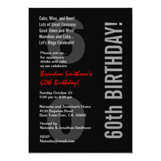 60th Modern Birthday Black White Red Template Card