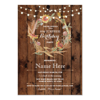 60th or Any Age Birthday Party Wood Floral Invite
