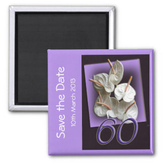 60th party Save the Date Magnet - white anthuriums