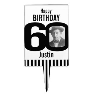 60th photo birthday cake topper