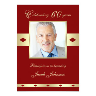 60th Photo Birthday Party Invitation - Burgundy 60 Cards