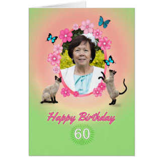 60th photo card with cats and butterflies,