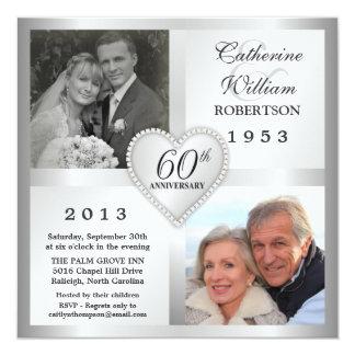 """60th Silver Anniversary Heart Photo Invitations 5.25"""" Square Invitation Card"""