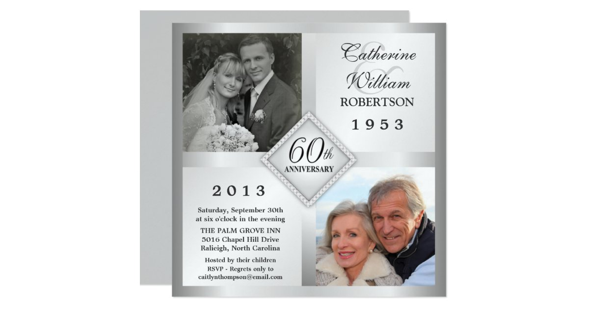 60th Silver Diamond Anniversary Photo Invitations – Anniversary Invitations