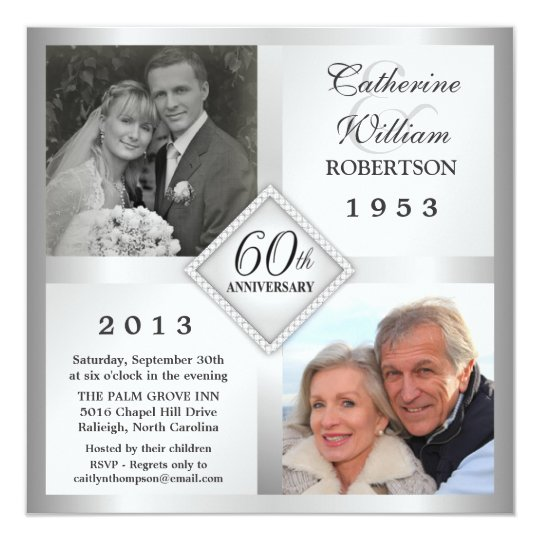 60th Silver Diamond Anniversary Photo Invitations Zazzlecom