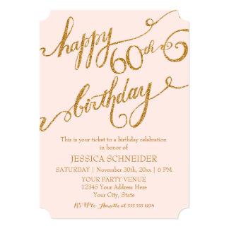 60th, Sixtieth Birthday Party Ticket Celebration 5x7 Paper Invitation Card