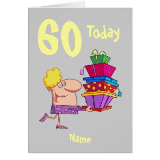 60th sixty birthday cartoon  personalized greeting card