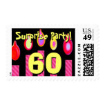 60th SURPRISE Birthday  Birthday Pink Candles Postage Stamp