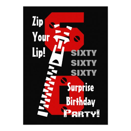 60th SURPRISE Birthday Black Red White B470 Custom Invitation