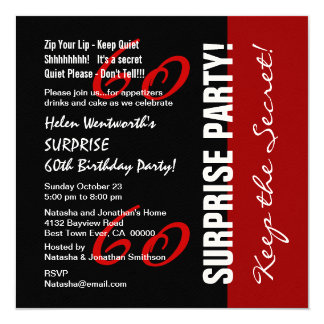60th SURPRISE Birthday Black Red White Felt Paper Card