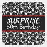 60th SURPRISE Birthday Black Silver Red Square Sticker