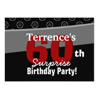 60th Surprise Birthday Black White Horizontal Custom Invites