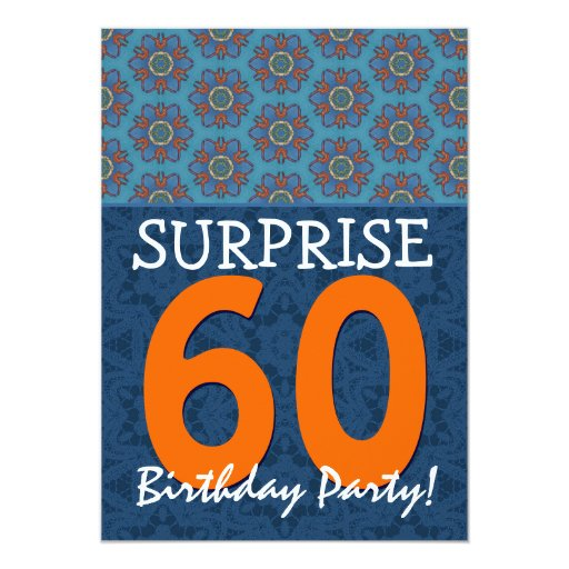 60th surprise birthday blue and orange template card zazzle. Black Bedroom Furniture Sets. Home Design Ideas