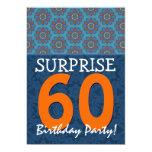60th Surprise Birthday Blue and Orange Template 5x7 Paper Invitation Card