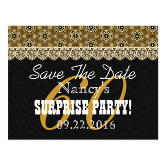 60th SURPRISE Birthday For Her A01 Black and Gold Postcard