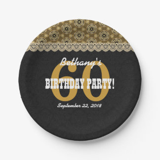 60th SURPRISE Birthday For Her A15 Black and Gold Paper Plate