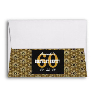 60th SURPRISE Birthday For Her A26 Black and Gold Envelope