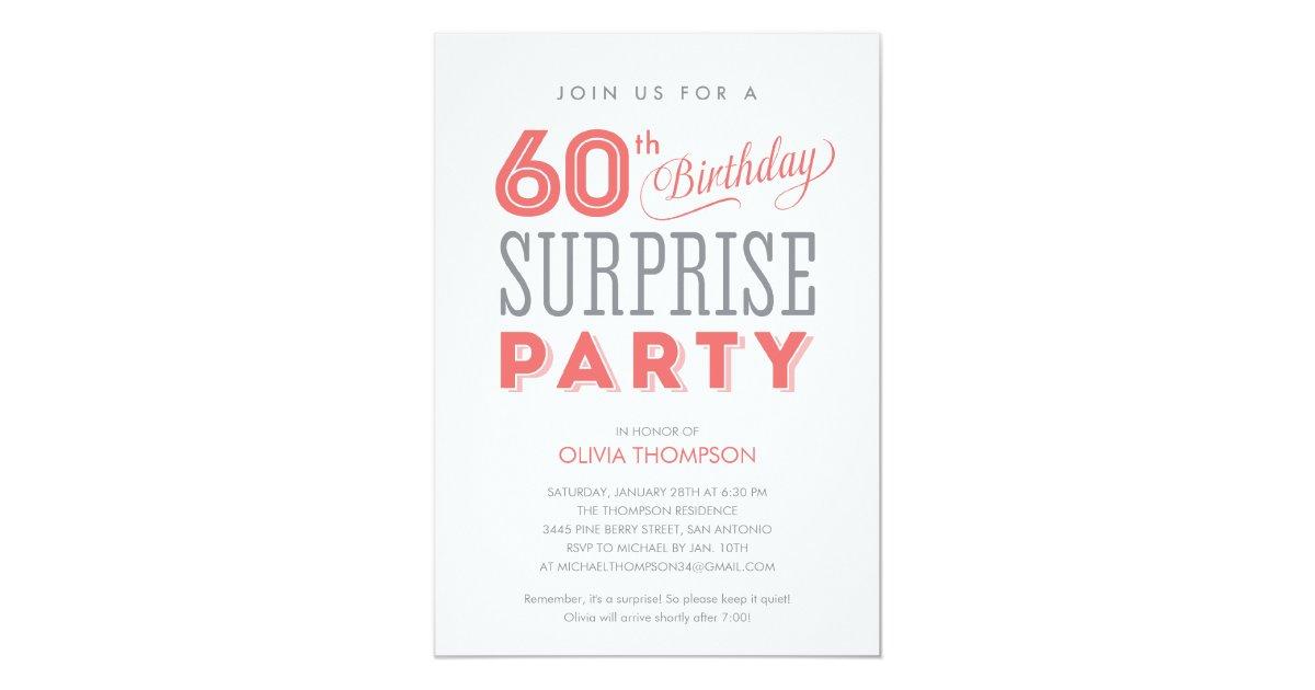 60th Surprise Birthday Invitations Zazzle Com