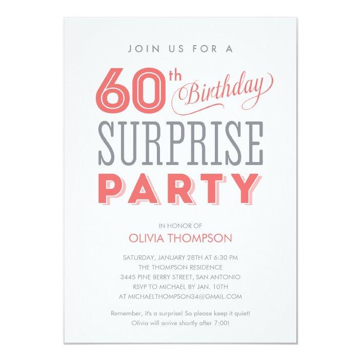 60th Surprise Birthday Invitations