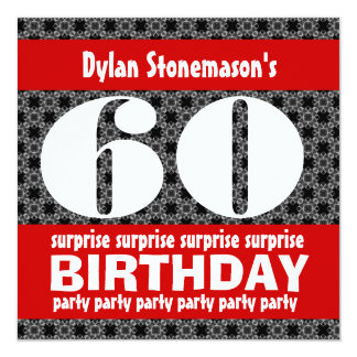 60th Surprise Birthday Party Black Red White Card