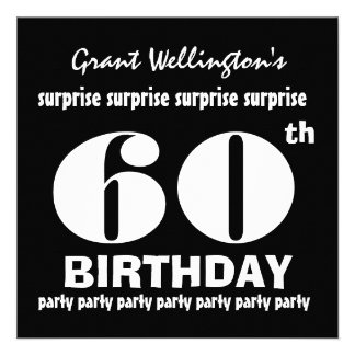 60th SURPRISE  Birthday Party Black White G694 Custom Announcement