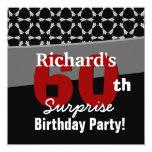 "60th Surprise Birthday Party Black White Stars 5.25"" Square Invitation Card"