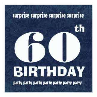 60th SURPRISE  Birthday Party Blue White Template