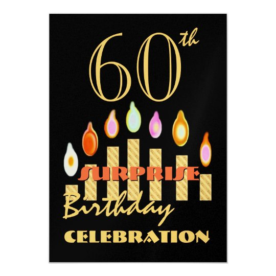60th SURPRISE Birthday Party Gold Candles Invite