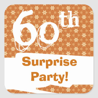 60th Surprise Birthday Party Gold Chocolate Orange Square Sticker