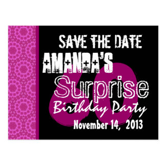 60th Surprise Birthday Party Pink Pattern Template Postcard
