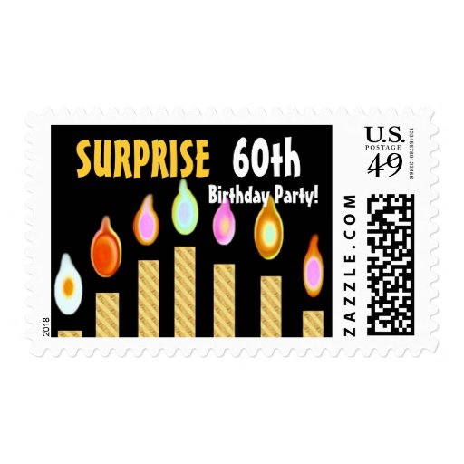 60th SURPRISE Birthday Party Stamp - GOLD Candles