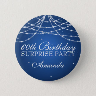 60th Surprise Birthday Party String Stars Blue Button