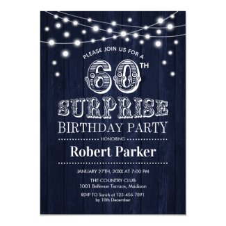 60th Surprise Birthday - Rustic Wood in Navy Blue Invitation