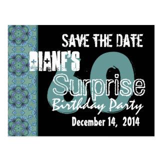 60th Surprise Birthday Save the Date Aqua Black Postcard