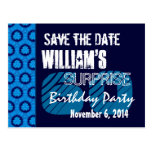 60th Surprise Birthday Save the Date Blue Pattern Postcard